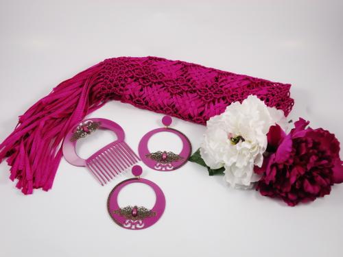 pendiente y peina flamenca manton y flores hispania flamenco