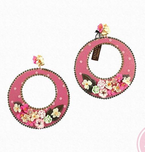 pendiente aro rosa lenana hispania flamenco