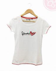 camiseta blanca corazon flamenco mujer benegassi hispania flamenco