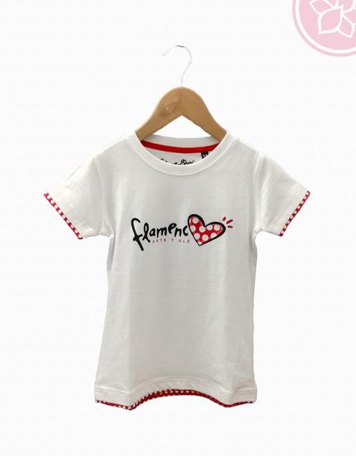 camiseta corazón flamenco blanca niña