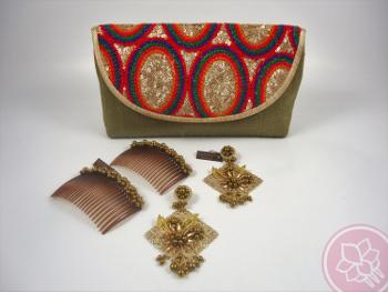 conjunto de bolso peina y pendientes hispania flamenco