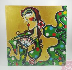 lienzo gitana piriñaca carmen encinas Hispania Flamenco