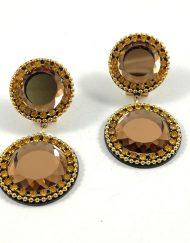 pendiente piedra dorado Artesania Carvajal Hispania Flamenco