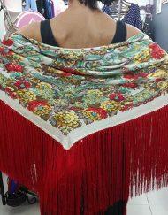 Manton seda flecos rojos Hispania Flamenco