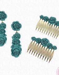 Pendientes y peinas flamencas fabricados con resina de la casa florsali.