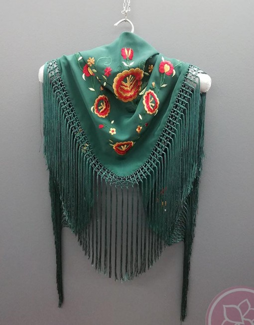 manton bordado verde hispania flamenco