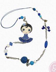 Collar flamenco de tonos azules con muñeca de la artista Rocío Koizumi. Hispania Flamenco