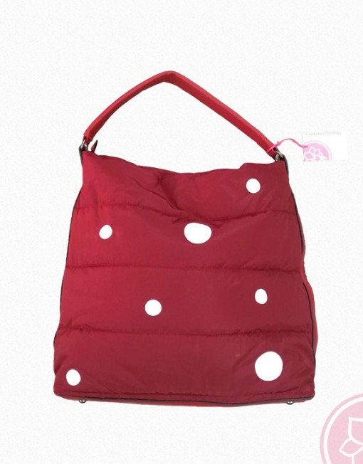 bolso rojo enguatado con lunares blancos hispania flamenco