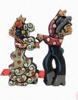 Figura de flamenco bailando con camisa roja. Esta pieza de cerámica es obra original del artista gaditano Antonio Ruano. Hispania Flamenco
