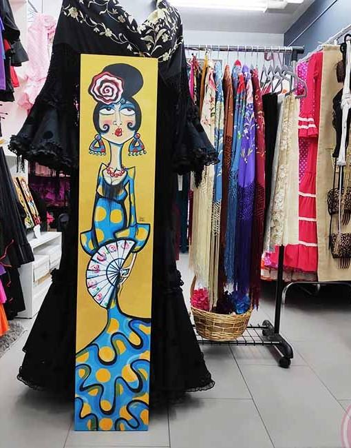 Tablas colección Piriñaca pintadas por la artista sevillana Carmen Encina. varios modelos diferentes. Dimensiones 24 cm. ancho x 122 cm. alto De cada modelo solo tenemos 1 ejemplar pues la artista no hace dos obras iguales.