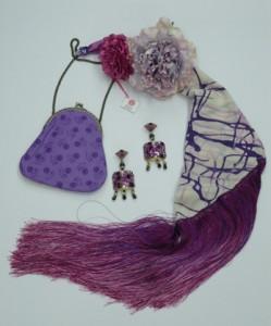 juego manton pendiente flor y bolso