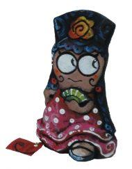 gitana con peineta y abanico ojos grandes ceramica antonio ruano