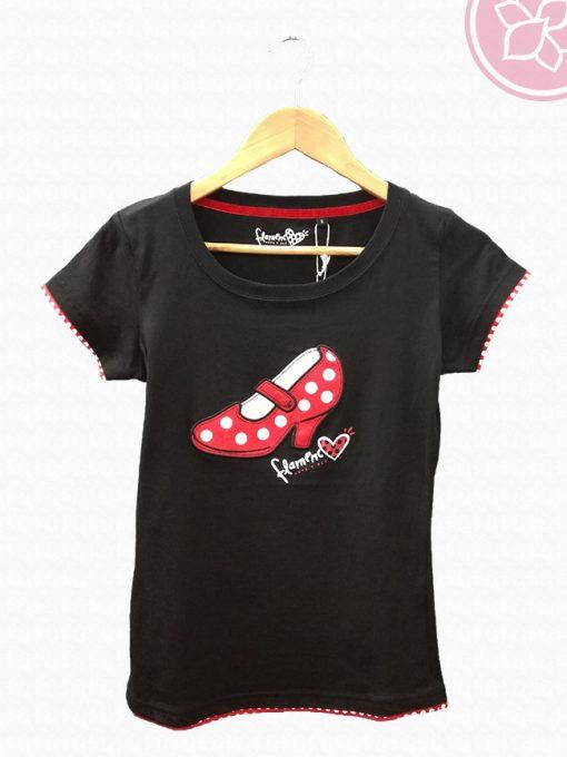 camiseta zapato flamenco negra benegassi hispania flamenco
