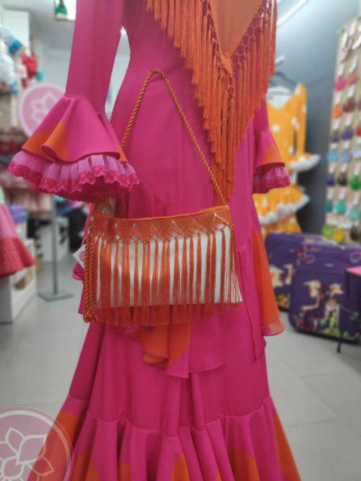 bolso flecos naranja hispania Flamenco