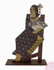 Figura gitana sentada con abanico Paz Alvarez e Hispania Flamenco