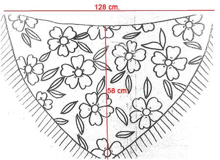 Mantoncillo de flamenca amarillo estampado. Medidas: 130 cm. X 58 cm.