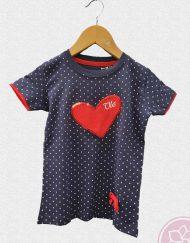 tienda camiseta niña corazon rojo ole