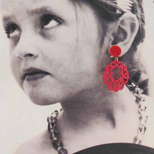tienda pendiente niña troquelado rojo