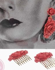 pendiente resina coral hispania flamenco
