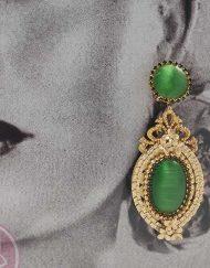 tienda pendiente dorado piedra verde hispania flamenco