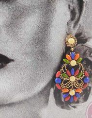 tienda Pendiente dorado con piedras multicolor