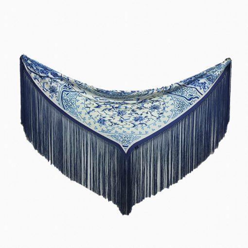 manton estampado azul hispania flamenco