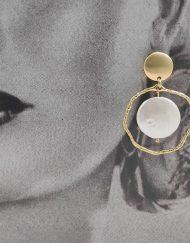 pendiente aro dorado con perla Hispania Flamenco