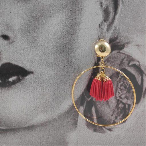 aro dorado con fleco rojos artesania carvajal e hispania flamenco