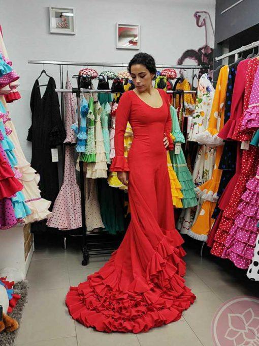 traje de cola rojo hispania flamenco